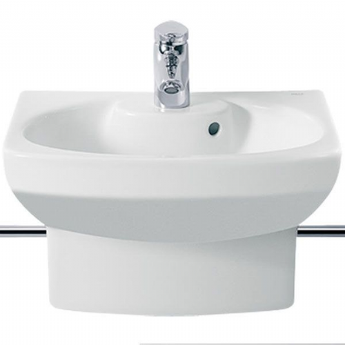 Roca Senso Compact Round Cloakroom Basin With Integral Pedestal - 480mm - 1 Tap Hole - White